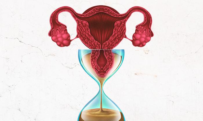 óvulo dentro de uma ampulheta para representar a reserva ovariana